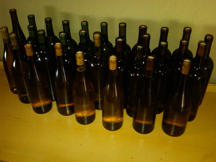Australian Riesling bottled and corked.